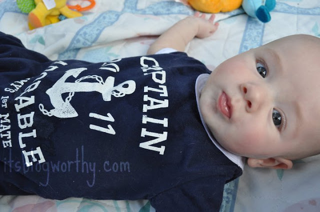 Baby Blogworthy in his Captain Adorable shirt.