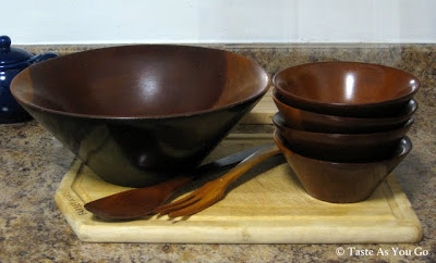 Wooden Serving Bowl, Serving Utensils, and Salad Bowls - Photo by Taste As You Go