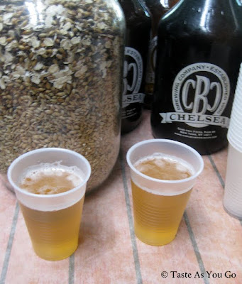 Samples of the Checker Cab Blonde Ale at the Chelsea Brewing Company in New York, NY - Photo by Taste As You Go