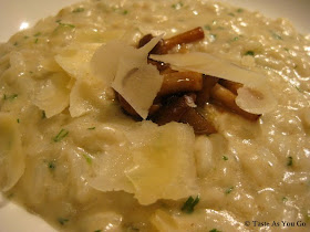 Carnaroli Risotto of Sunchoke with Honshimeji Mushrooms and Mascarpone at Maze at The London NYC by Gordon Ramsay in New York, NY - Photo by Taste As You Go