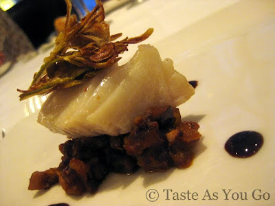 Poached Halibut with Caponata and Baby Artichoke Chips at Fives at The Peninsula New York in New York, NY - Photo by Taste As You Go