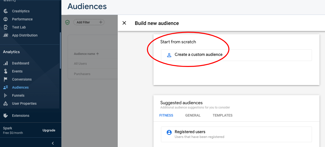 Image showing how to create an Audience in Firebase