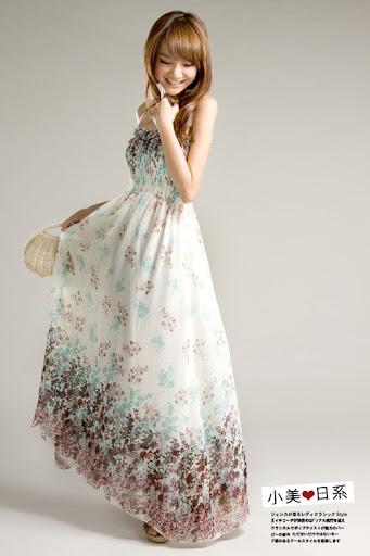 Korean Fashion Womens Boho Full Length Floral Long Dresses Chiffon 332