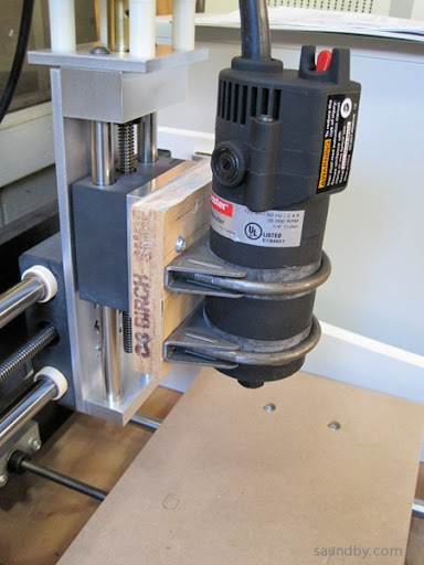 Harbor Freight drillmaster trim router on microCarve A4 CNC