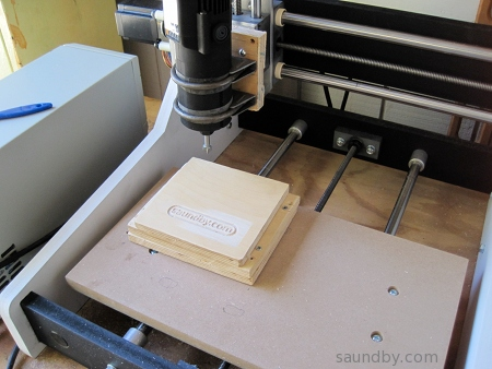 saundby.com logo cut using micrCarve A4 CNC router.