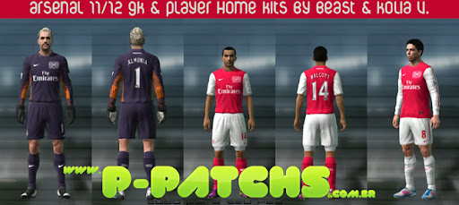 Arsenal 11-12 Home Kits para PES 2011 PES 2011 download P-Patchs