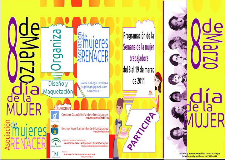 Tríptico del programa de actividades para la mujer, diseñado por Javier Gallego