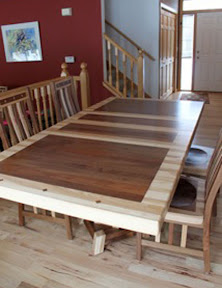 60 x 42 Turin Dining Table and Mission Chairs, Custom Border and Timber Edge, Hickory and Walnut
