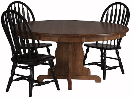 "54"" Diameter Colonial Round Table in Pecan Oak and Missouri Chairs in Midnight Oak"
