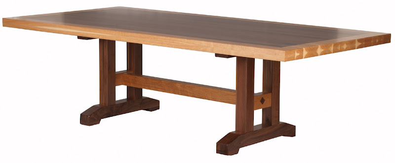 60 X 42 Trestle Table With Custom Timber Edge, Natural Walnut And Hickory
