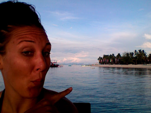 Sitting on the floating bar off Malapascua Island writing this post. Photo by Bobbi Lee Hitchon