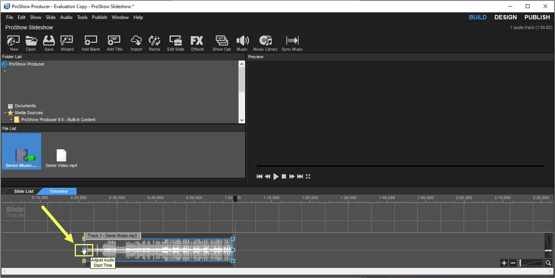 Nhấn giữ Adjust Audio Start Time để tiến hành cắt nhạc ở phía đầu