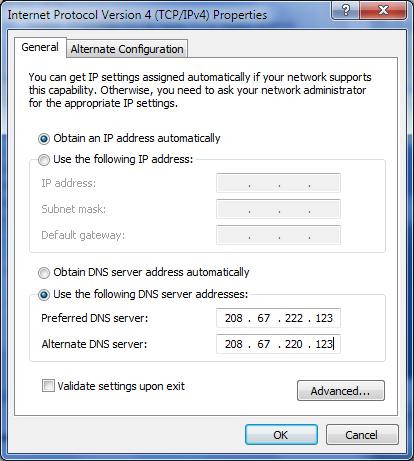 Windows 7 DNS Config
