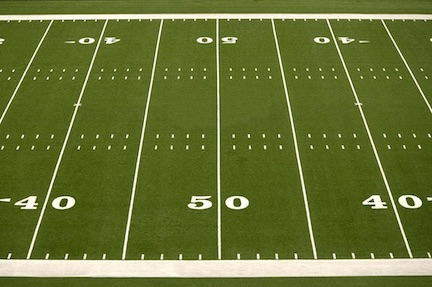 Football fields in the U.S. are measured in yards (3 ft.).