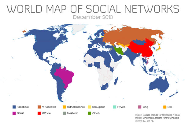 breast size map. World Map of Social Networks