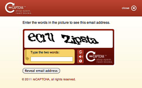 screenshot: reCAPTCHA form displaying a challenge: ecruu Zipsta