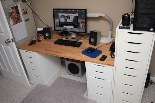 Built in desk with ikea cabinets installation