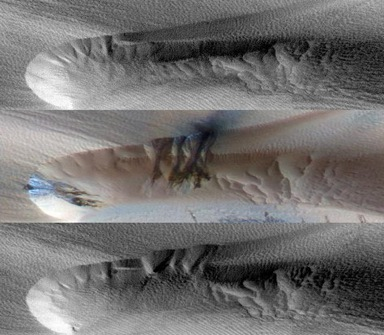 movimentação das dunas de Marte