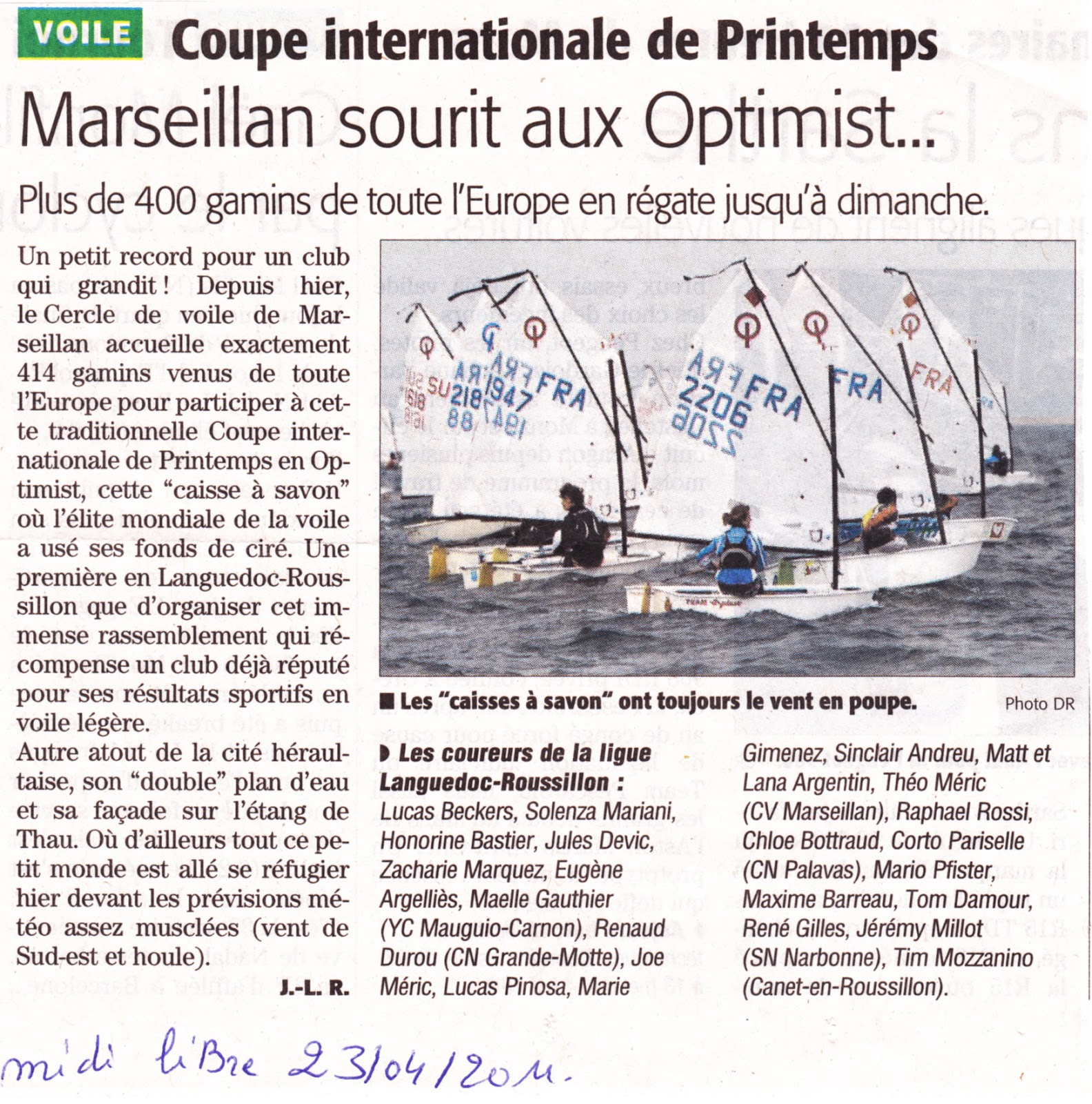 CIP 2011 Marseillan régate voile Optimist coupe_internationale_de_printemps génération-opti