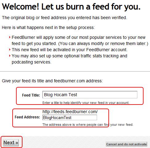 feedburner kurulumu - üçüncü adım