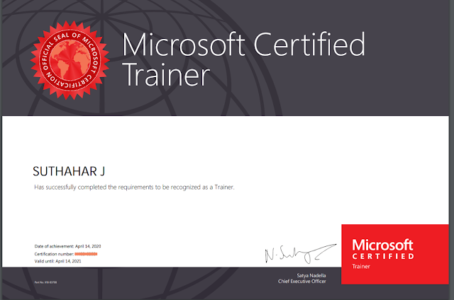 Suthahar Become a Microsoft Certified Trainer 2020