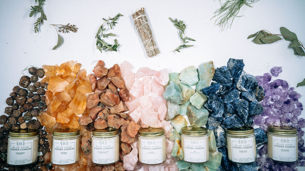 Candles, crystals, and herbs from Blue Sage Eco Boutique