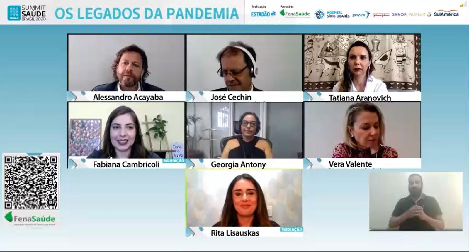 Em 2020, o evento foi realizado pela primeira vez exclusivamente de forma virtual e discutiu o impacto da pandemia nos planos de saúde. (Fonte: Estadão Summit Saúde 2020/Reprodução)