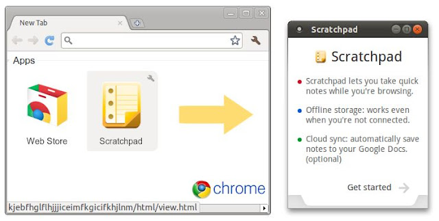 Scratchpad on the New Tab page of Google Chrome