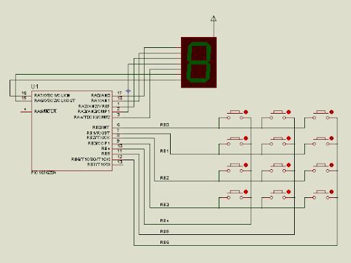 Esquema electrónico de teclado matricial para PIC