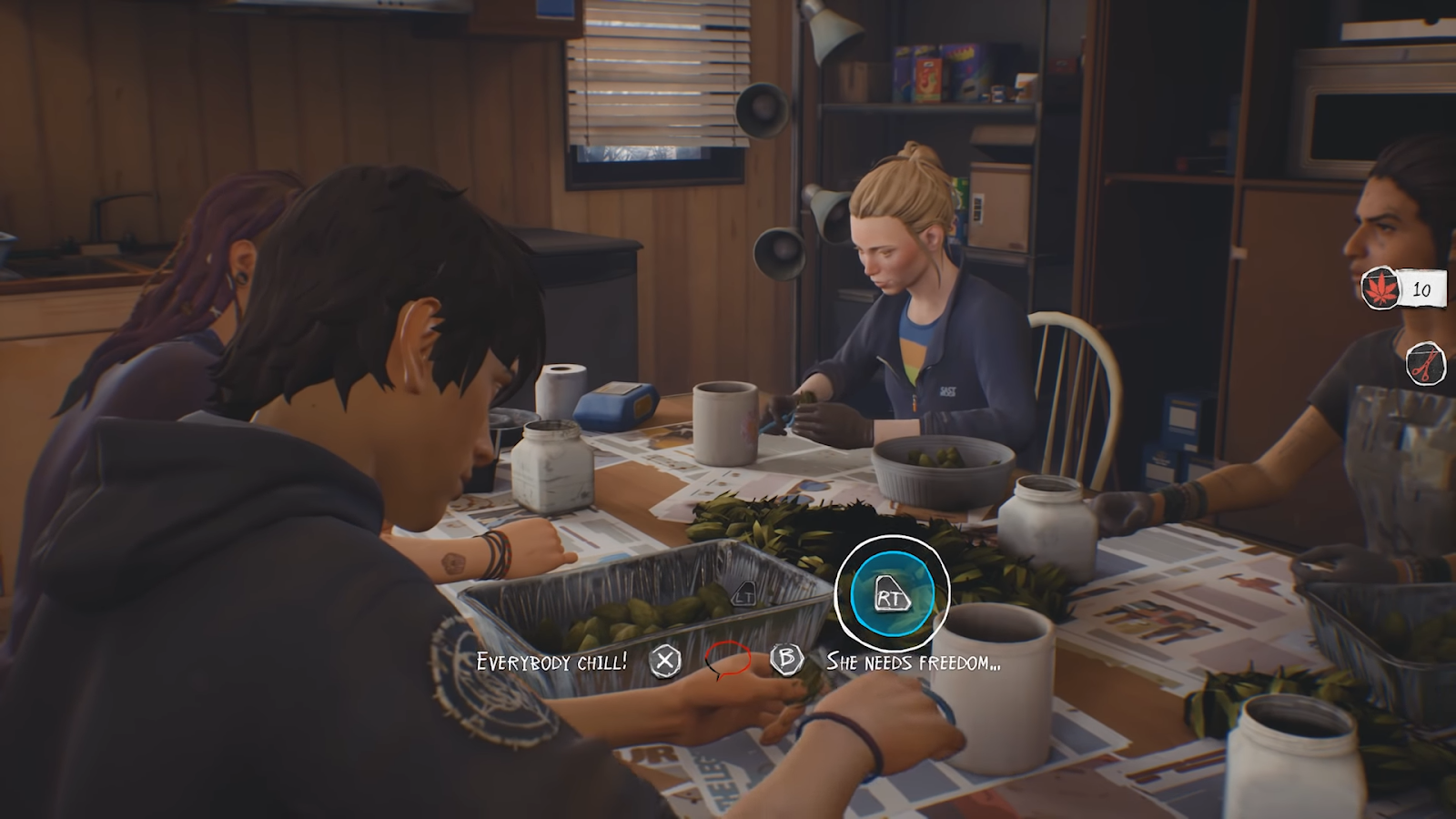 Four people are sitting around a table, cutting up plants. There are onscreen prompts with circles closing around the right trigger symbol for the gamepad, with the left trigger symbol greyed out. Underneath are two dialogue options, and a red and black speech bubble that indicates that one quarter of the time to choose a dialogue option is already up. To the right of the screen is a count of how many leaves have been cut, and the status of the scissors you are using.