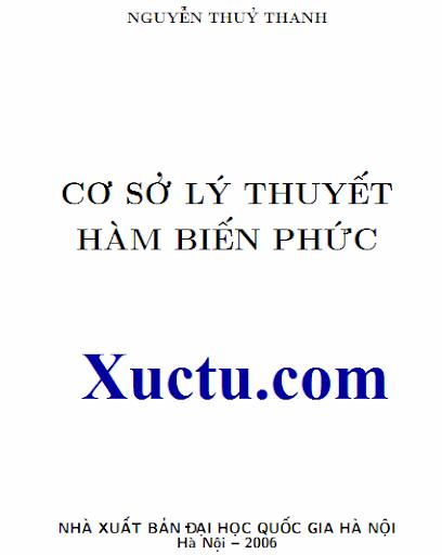Cơ sở lý thuyết hàm số biến số phức Nguyễn Thủy Thanh