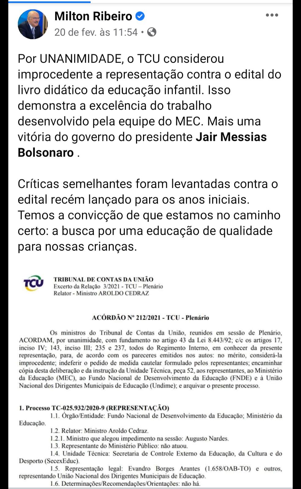 Reprodução do Facebook do Ministro Milton Ribeiro.