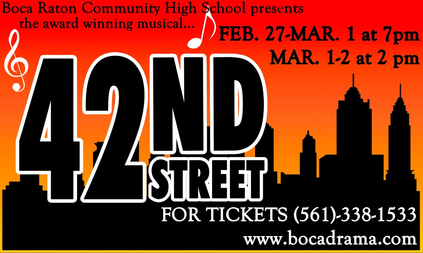 42nd Street, Feb. 27-Mar. 1 @7PM, Mar. 1+2 @2PM