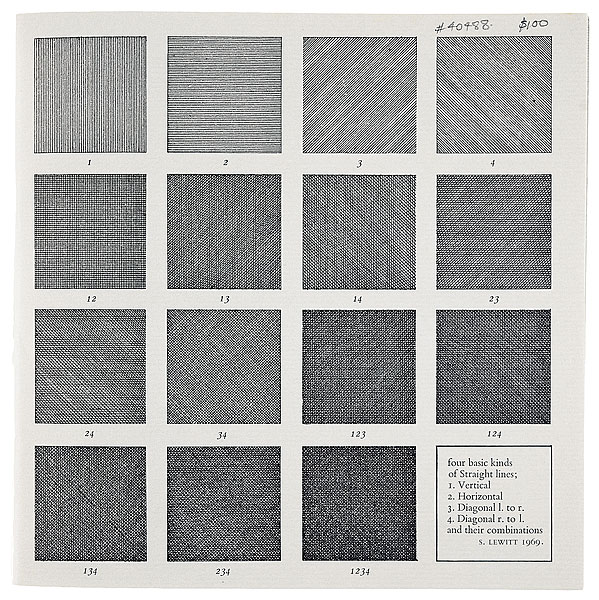 Four basic kinds of straight lines by Sol Lewitt