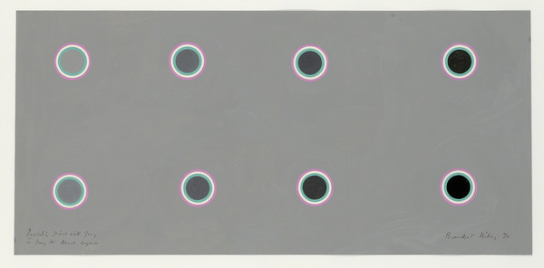 Bridget Riley, Encircling Discs with Grey in Grey to Black Sequence