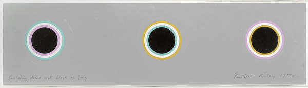 Bridget Riley, Encircling Discs with Black on Grey