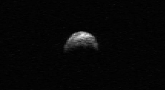 This radar image of asteroid 2005 YU55 was generated from data taken in April of 2010 by the Arecibo Radar Telescope in Puerto Rico. Image credit: NASA/Cornell/Arecibo