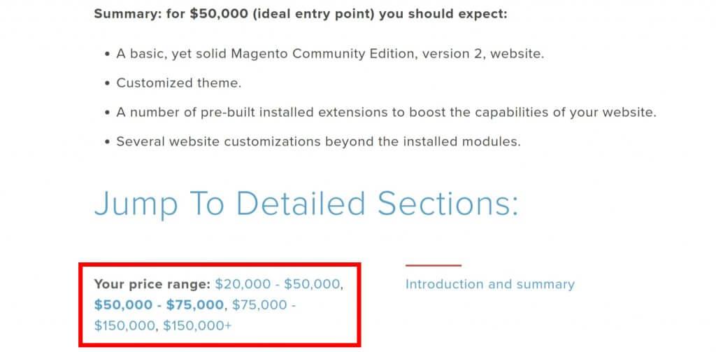 Exemplarische Kostenschätzung für einen Umzug auf Magento 2