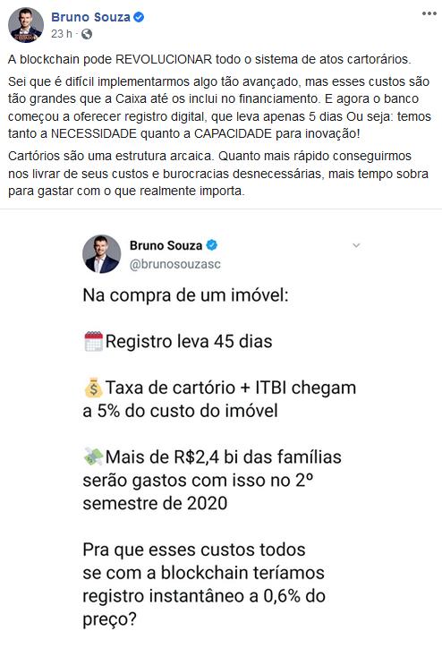 Bruno Souza falando sobre cartórios de blockchain