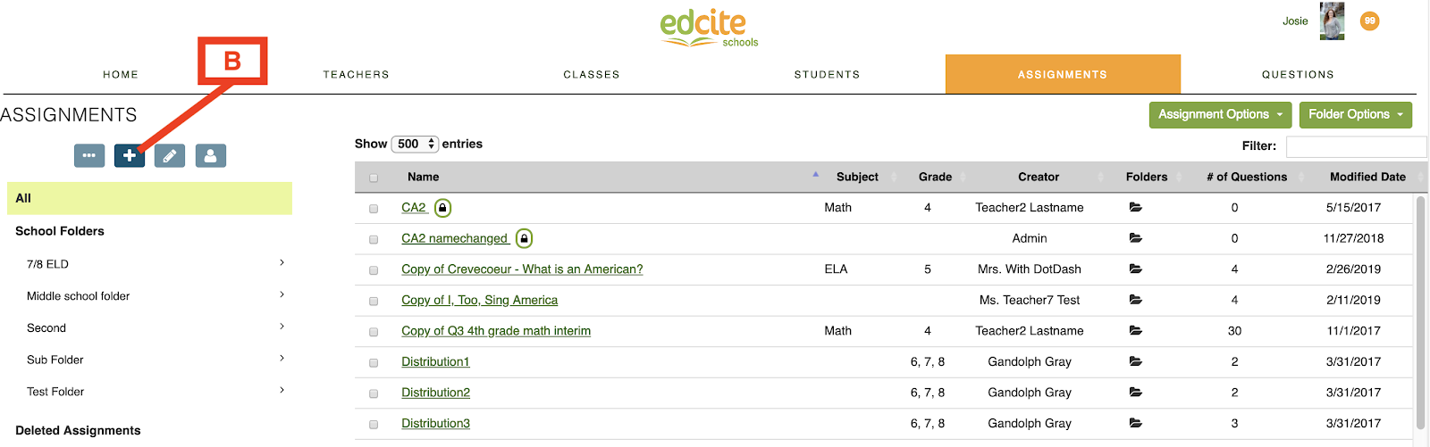 Admin Or edcite schools creating schools folders in the admin or sub