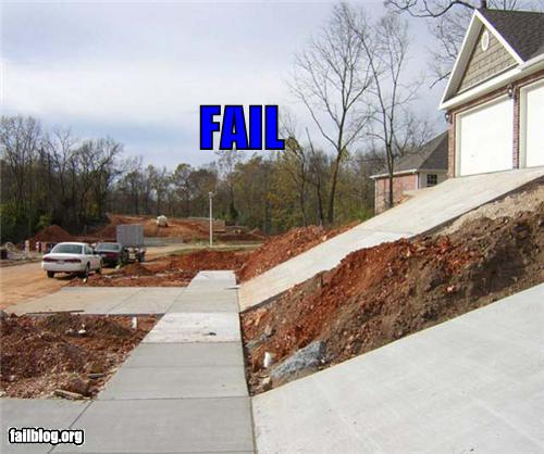 photo of a very steep driveway