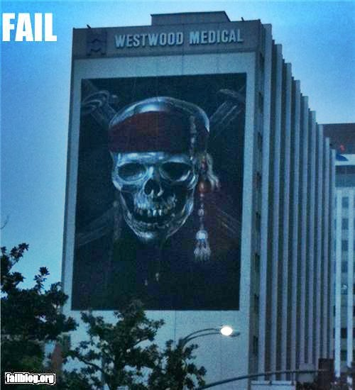 photo of an advertisement with a skull on the side of a hospital