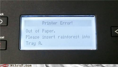 photo of a funny printer screen message