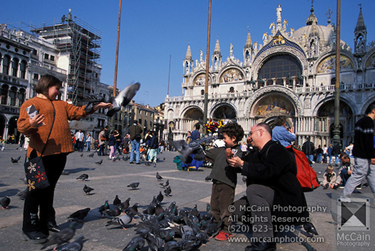 Tourists admiring and playing with pigeons.