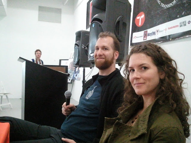 adam pollock and jessica cassity at the new amsterdam bicycle show