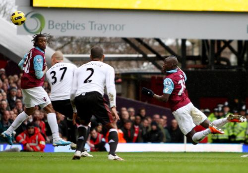 Demba Ba 's header, West Ham - Liverpool