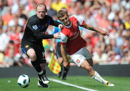 Jack Wilshere with Wayne Rooney, Arsenal - Manchester United
