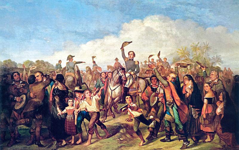 Quadro de François-René Moreaux que retrata D. Pedro em meio ao povo depois da proclamação. (Fonte: WikimediaCommons/Reprodução)