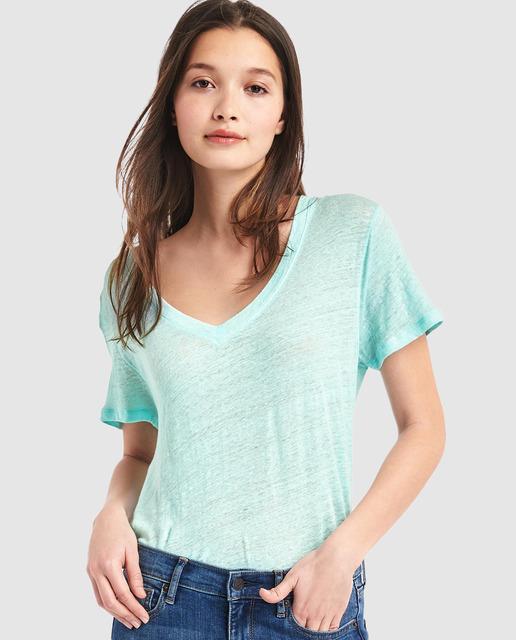 Camiseta básica de mujer Gap de lino