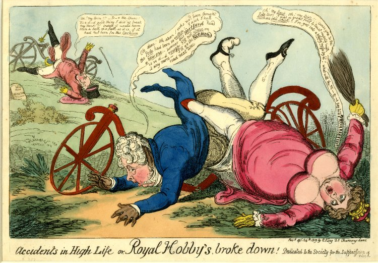 Cruikshank print of the Regent and Lady Hertford falling off a velocipede (1819, <a href='http://www.britishmuseum.org/research/search_the_collection_database/search_object_details.aspx?objectid=1503538∂id=1&searchText=velocipede+accident&fromADBC=ad&toADBC=ad&titleSubject=on&physicalAttribute=onνmpages=10ℑs=on∨ig=%2fresearch%2fsearch_the_collection_database.aspx¤tPage=1'>British Museum).